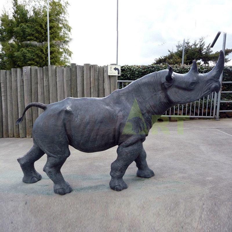 Bronze Rhino Figurine Sculpture
