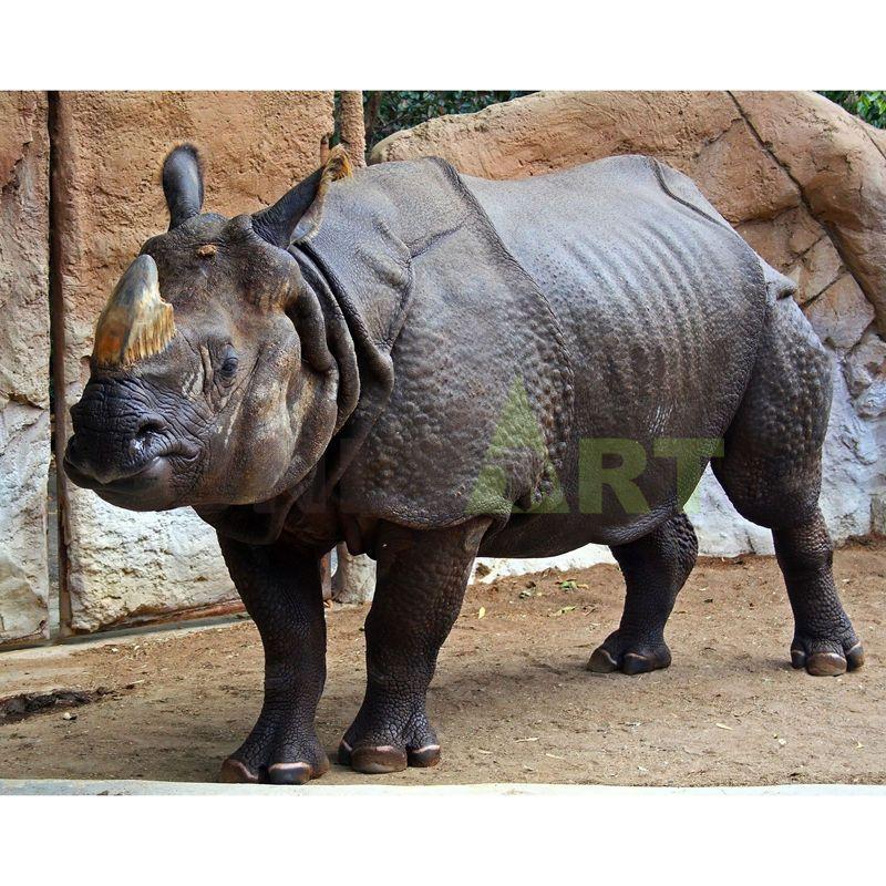 African Wild Animal Resin Life Size Rhino Sculpture