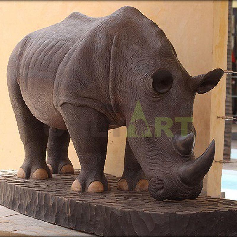Bronze Rhino Head Sculpture Animal Wall Decor Art