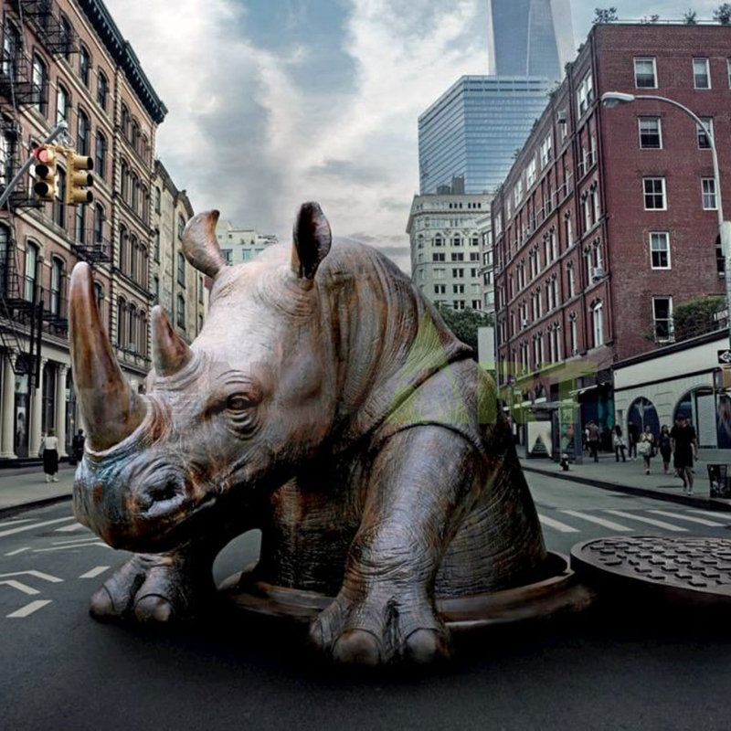 Animal  3d antique bronze rhino head wall decor