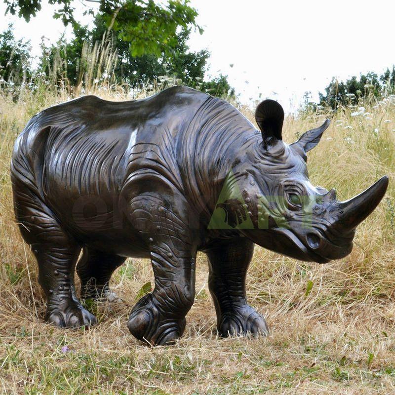 Art foundry Manufactory customized large size animal statue garden bronze rhino sculpture