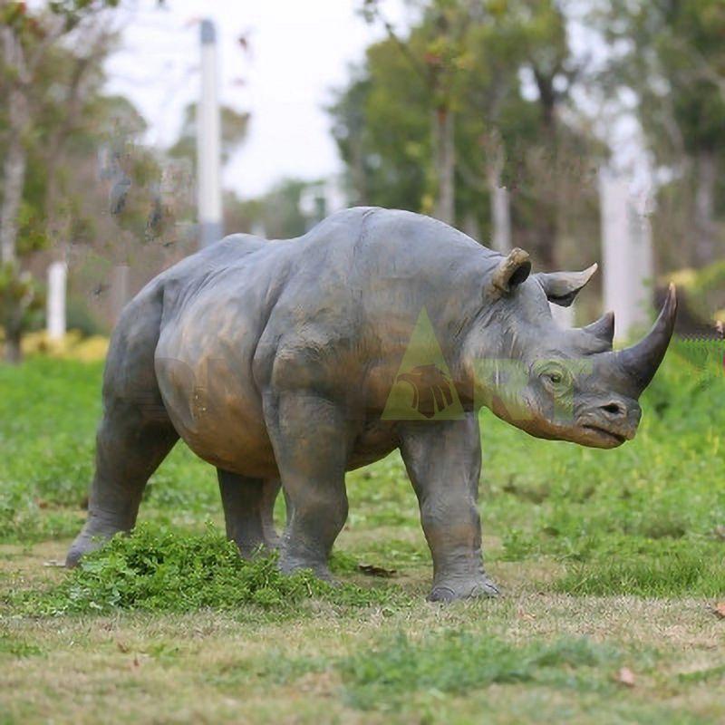 Realistic Life Size Bronze Rhino Statue Large Copper Rhinoceros