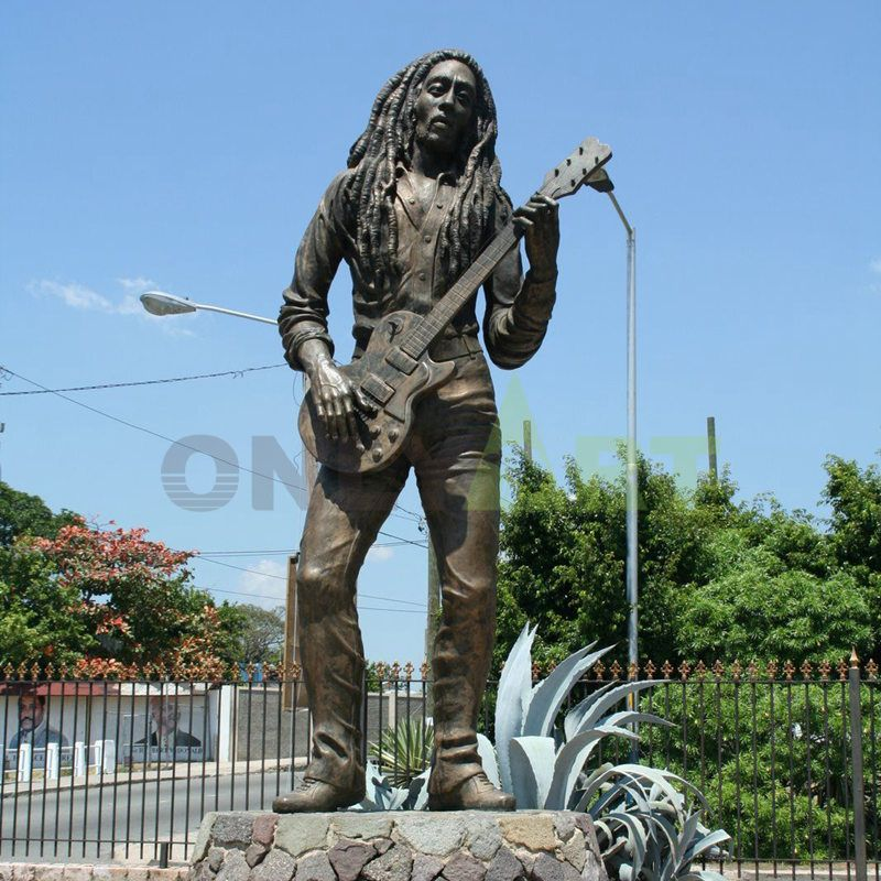 Bronze sculpture of an Indian guitarist