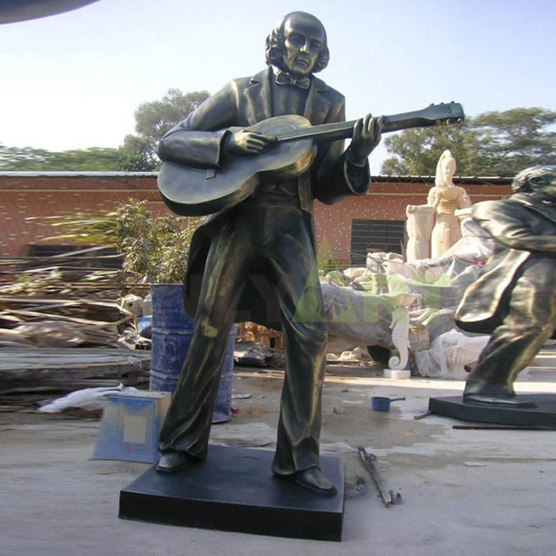 Modern musicians guitar bronze sculpture jazz statues