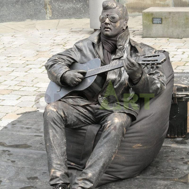 square decoration bronze musician abstract statue modern sculpture