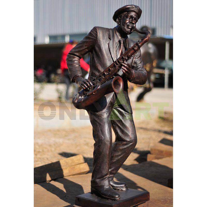 Hot selling Custom Black Singer Jazz Figurines Bronze Musician Statues