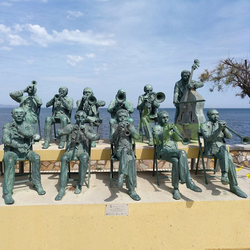 Standing Bronze Musician Cello Sculpture Statue
