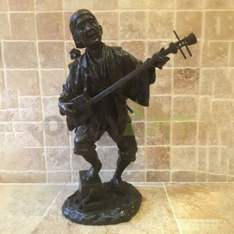 Factory custom made handmade carved hot product bronze figurines musicians