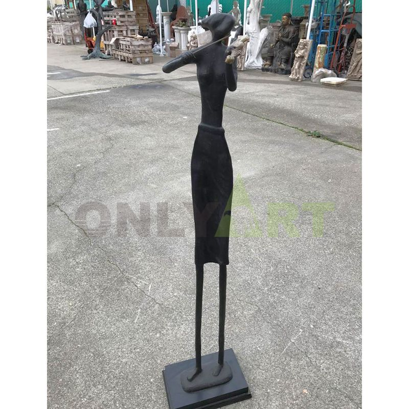 Abstract exaggeration of the sculpture of a bronze craft musician