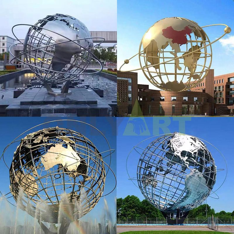 Do you like these metal globe sculptures?
