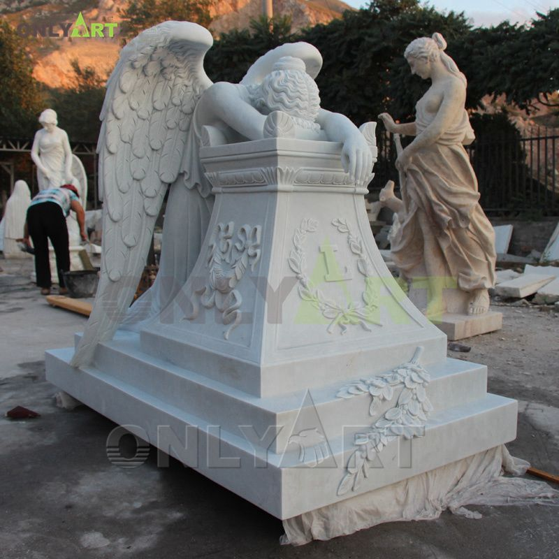 Hand carved natural white marble tombstone angel