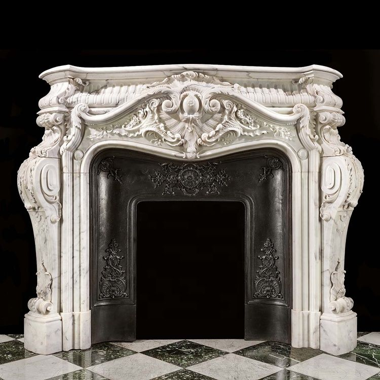LOUIS XV Style Home Decoration Hand Carved Natural Marble Fireplace