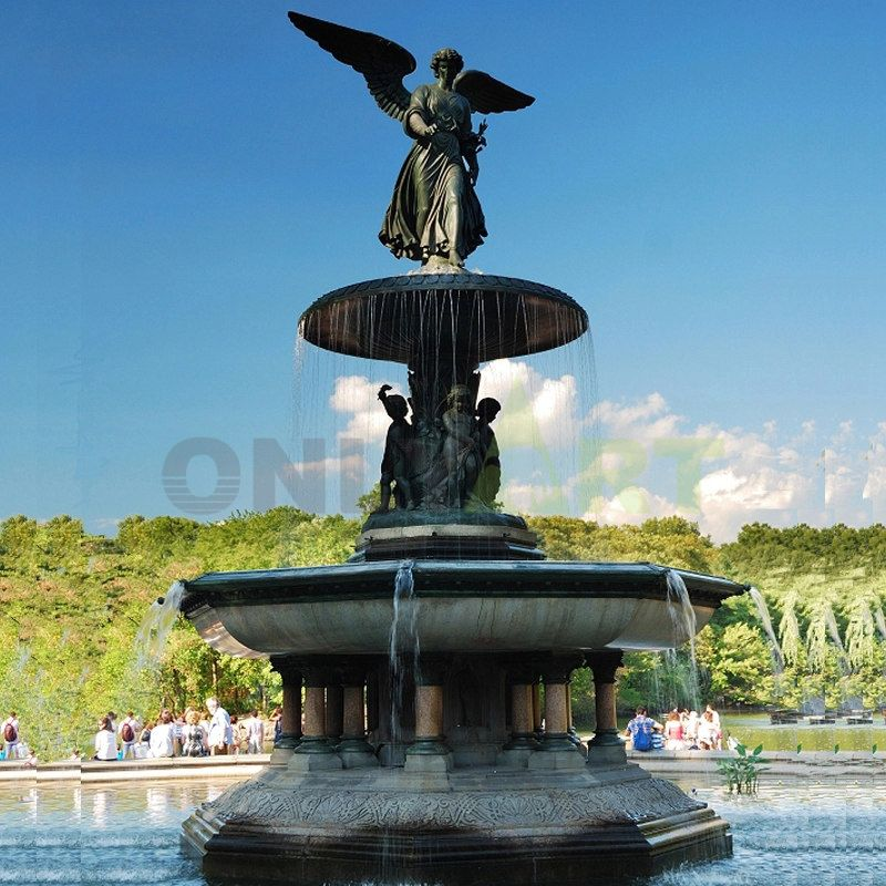 Bronze sculpture of an angel on the fountain