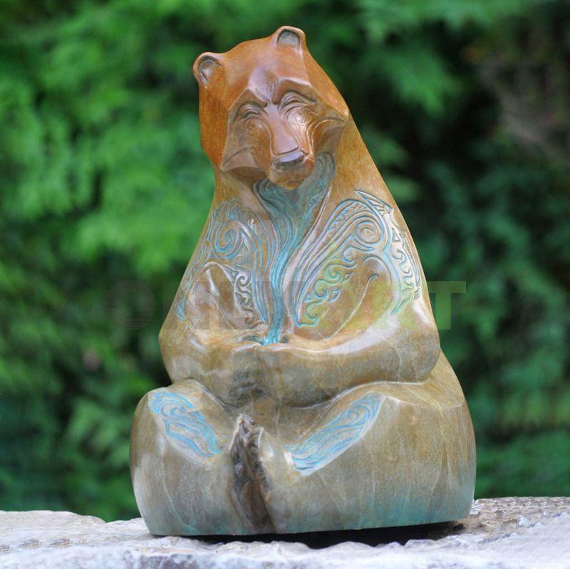Outdoor Garden Metal Life size bronze bear statue for sale