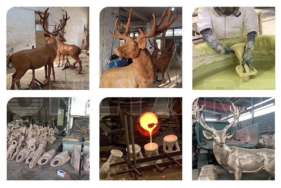 Garden Cast Bronze Life Size Elk Deer Statue animal sculpture