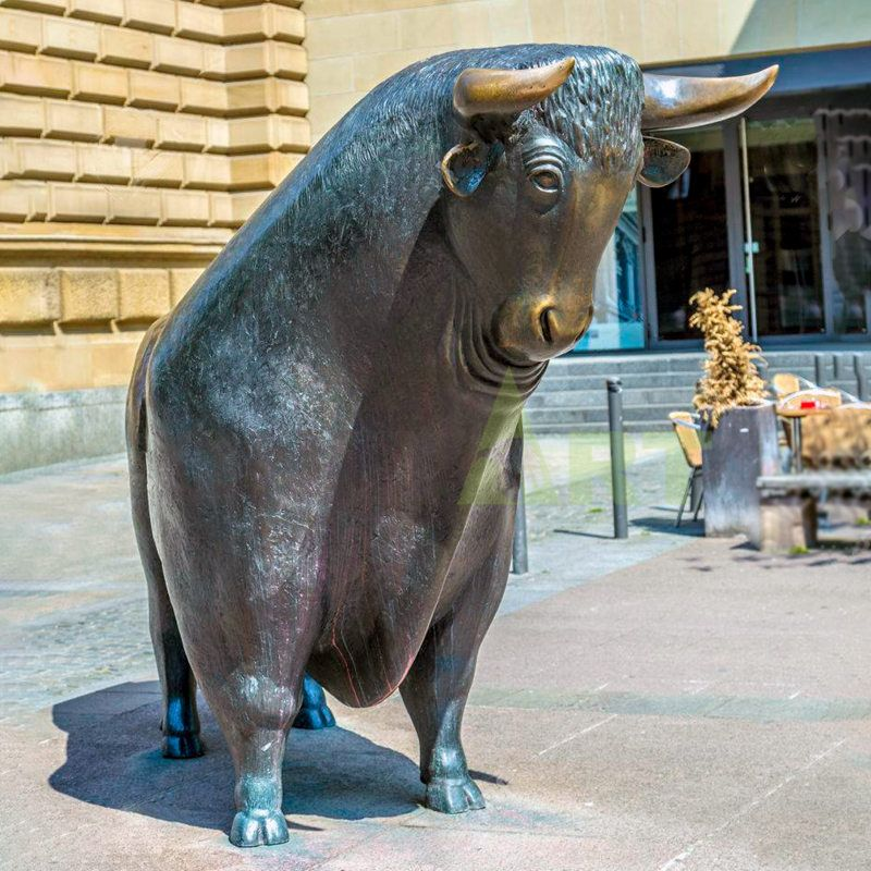 China Factory Custom Outdoor Cast Bronze Metal Stainless Steel Bull Sculpture Statue For Sale