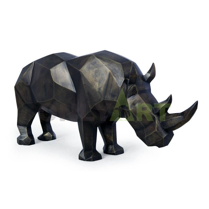 high quality small size metal arts bronze animal the rhino