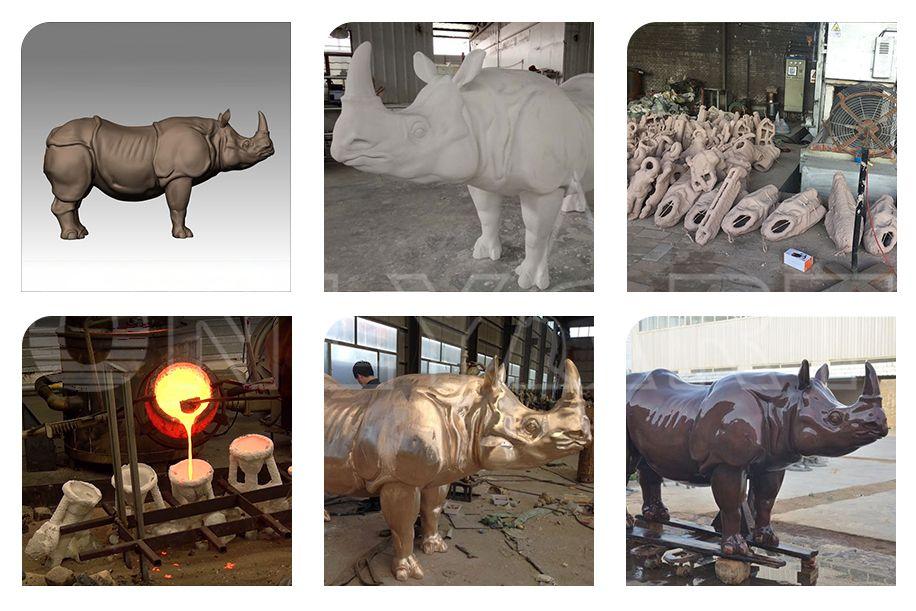 Outdoor Large Bronze Rhinoceros Statue Metal Wildlife Sculpture
