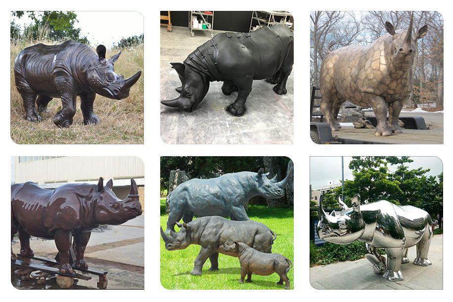 Indoor Decoration Life Size Bronze Rhino Sculpture