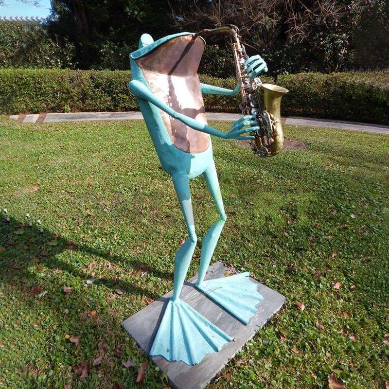 Shopping garden decorative sculpture bronze music Frog statue